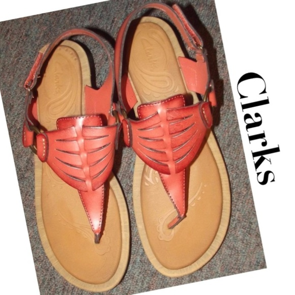 ad2e322395d Clarks Shoes - Clarks Salmon Leather Wedge Sandals